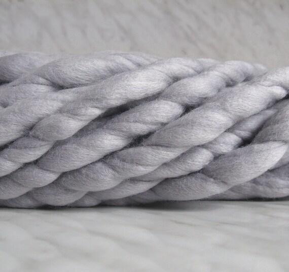 Knitting Patterns For Mega Chunky Wool : Super Bulky yarn mega chunky yarn TITAN light gray 8 oz mega