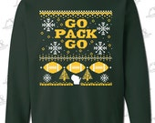 """Green Bay Packers Fans """"Ugly Christmas Sweater"""" Crewneck Sweatshirt - FOREST GREEN Go Pack Go (screen printed)"""