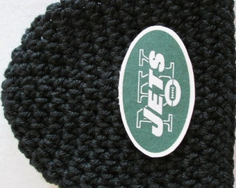 Crochet Baby Hat, Baby Football Hat, Crochet Beanie Hat in New York Black - Baby Photos - Newborn and Baby Sizes Available