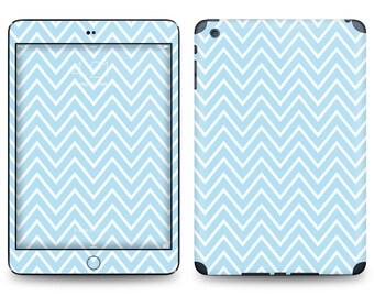 Soft Blue Thin Chevron Pattern - Apple iPad Air 2, iPad Air 1, iPad 2, iPad 3, iPad 4, and iPad Mini Decal Skin Cover