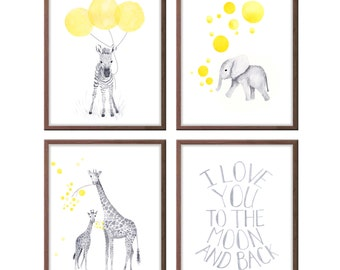 Watercolor Nursery Art, Yellow and Gray Nursery Art, Set of Four, I love you to the moon and back, Giraffe, Elephant, Zebra - S435