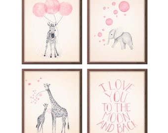 Baby Girl Nursery Decor Girls Nursery Art, Baby Girl, Gifts for Girl, Animal Nursery Art, Baby Nursery Decor, Set of Four, Prints - S412
