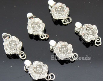 Rose Flower Silver Clasps, 0.8x 18.5mm Clasp Wheel, Silver Plated over Brass,Jewelry Clasp,Bracelet Clasp,Pearl Clasp,Pkg of 10 pcs--BN057