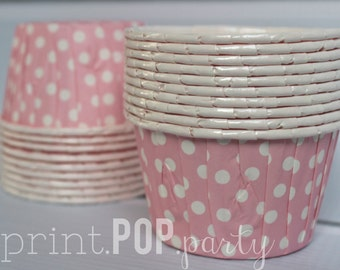 Pink Polka Dot Party Snack Cups Party Treat Cup Party Cup with Coordinating Favor Sticker Digital Print