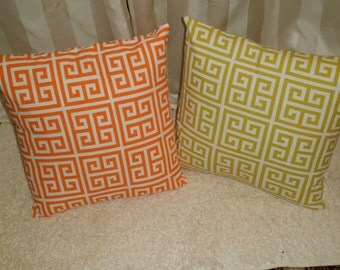 18x18 inch Orange and White or Green and White Pillow Covers