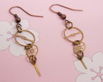 Steampunk Gears and Cog Earrings with Cogs and Gears Dangly French Hook Jewellery