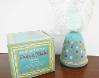 Vintage Avon Dutch Maid with Sonnet Cologne - Belles of the World - blue, 1970s - perfume, collectible, figurine, tulip, girl, woman, in box