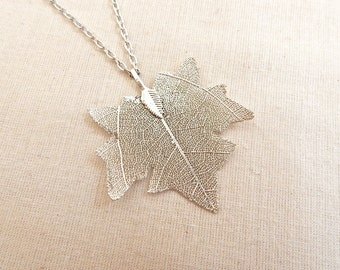 Maple Leaf Necklace, Maple Leaf Charm, Real Leaf Jewelry