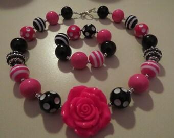 Bubblegum Beaded Necklace and Bracelet, Black and Pink Necklace and Bracelet, Beaded Necklace, Jewelry, Womans Necklace and Bracelet Set
