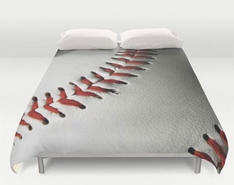 Baseball Duvet Cover-Red-White-Black-Sports Duvet Cover-Boy/Girl Bedroom Decor-Twin 68x68-Full 79x79-Queen 88x88-King 88x104-Athletic Decor