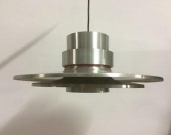 Lovely danish vintage brushed steel pendant lamp