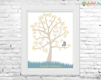 New Baby Nursery Art Print, Personalized Baby Gift, Baby Bird, Tree Nursery Wall Art, New Baby Decor, Baby Boy Nursery Print, Custom Colors