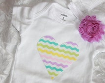 Pastel Heart Onesie / Bodysuit with or without Headband. Handmade. Baby Girl outfit. Easter Oufit. Babyshower.