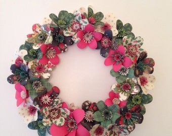 Holiday Wreath of Paper Flowers for Christmas!
