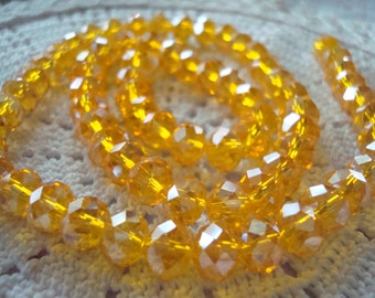 """36 Sunflower Yellow AB Translucent Topaz Crystal Rondelles 6x8mm ~Or Choose Full Strand 17.5"""" Strand  ~Ships From Oregon"""