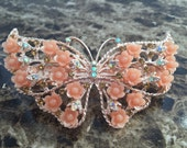 Butterfly Hair Barrette - Rose Gold Butterfly Hair Clip - Jeweled