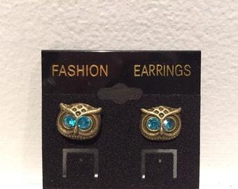 Steampunk Style Owl Earrings - Jeweled Owl Earrings - Owl Earrings