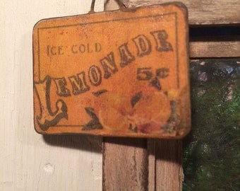 Miniature Dollhouse Vintage Wood Sign - Ice Cold Lemonade with hanging wire