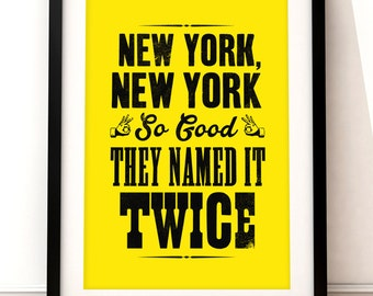 New York print, New York art print, New York inspired print, typographic print, New York New York, typographic art, New York poster art