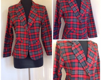 Vintage 1980s red plaid suit jacket