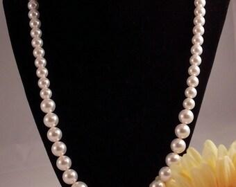 Pearl Necklace; Swarovski Pearl Necklace