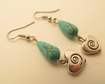 3923 - Turquoise and Spiral Heart Earrings