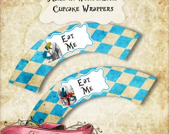 Alice in Wonderland Cupcake Wrappers, Alice Printable Party Decorations, Wonderland Digital Labels, INSTANT DOWNLOAD!