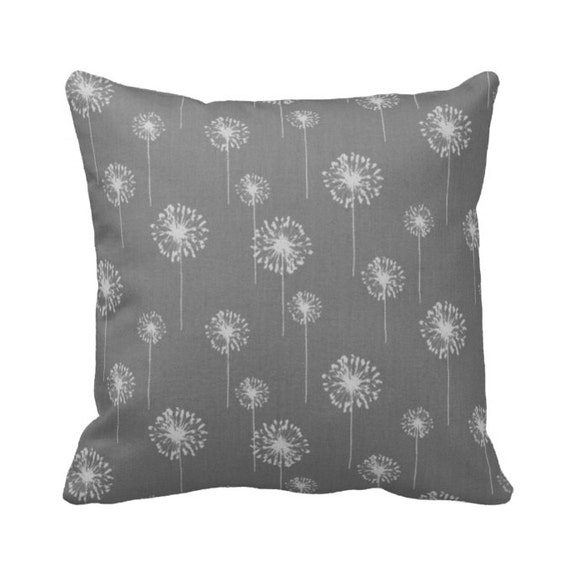 Zippered Dandelion Throw Pillow Cover Grey and White Small