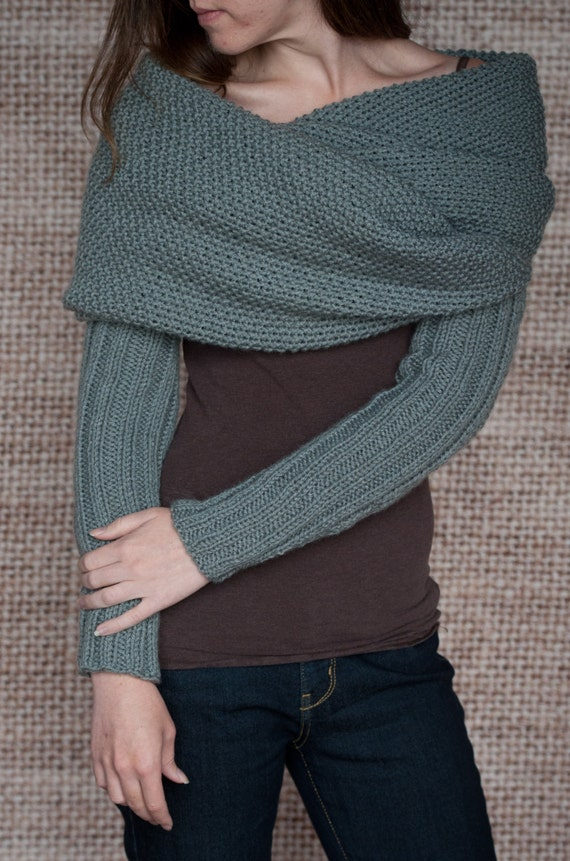 Knitting Pattern - Sleeve Scarf Sweater Wrap - Instand