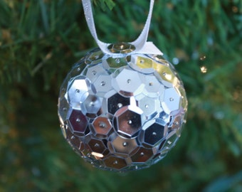 2 Inch Silver Sequins Ornament