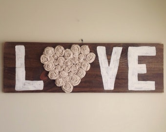 Love sign with handmade flowers