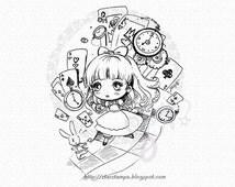Alice Chibi DIGITAL STAMP Instant Download