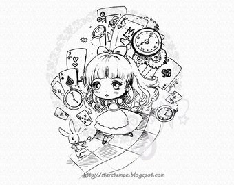 Alice Chibi DIGITAL STAMP Instant Download