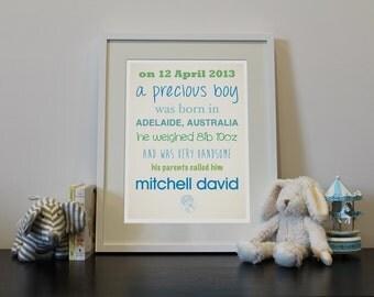 Custom personalised newborn art print with baby's own details