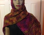 Shawl/Cape/crochet wrap/long scarf/infinity scarf/multicolor/winter scarf/cozy neck warmer/gift for mom/chunky