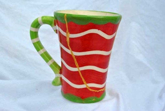Holiday Stripes Kintsugi Cup Mended with Gold Seams