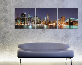 NYC Skyline/Manhattan at Night/Brooklyn Bridge ready to hang 3 panel wall art print mounted on fiberboard canvas/better than stretched