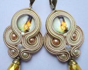 Soutache Earrings Beige - Gold