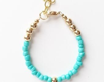 "Gold & Turquoise OR Cream ""Goldy Babe"" Bracelet"