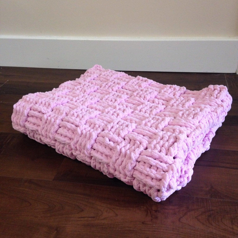Basketweave Crochet Baby Blanket Pink or Blue Basket Weave