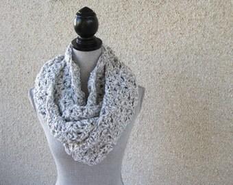 Crochet scarf, warm scarf, grey scarf, grey and white, cowl scarf, infinity scarf, loop scarf, circle scarf, winter scarf