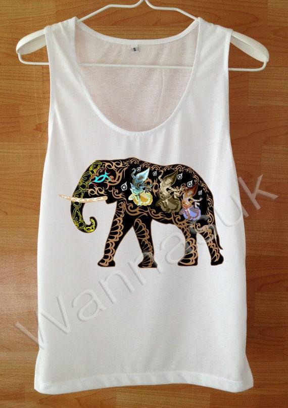 Items similar to elephants shirt womens elephant tank for Elephant t shirt women s
