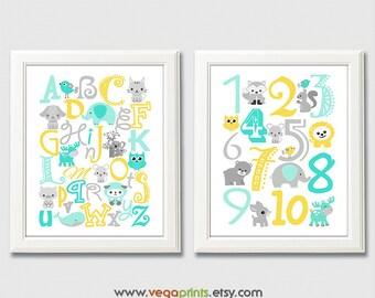 Aqua and yellow animal Alphabet and numbers art print - UNFRAMED - aqua, yellow, gray, nursery wall art, kids room decor, 123, abc