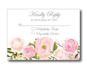 Printable Wedding Response Card - Romantic Floral Wedding RSVP - Rustic Wedding - Floral Wedding - INSTANT DOWNLOAD - Microsoft Word #CL114
