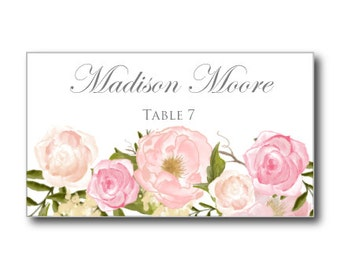 Printable Wedding Place Cards, Romantic Floral Wedding Place Cards, Rustic Wedding, Floral Wedding, INSTANT DOWNLOAD, Microsoft Word #CL114