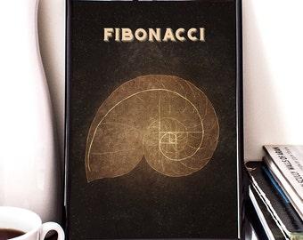 Fibonacci spiral, geometry, mathematics, giclee art print, science geek, wall decor