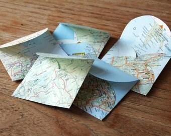 5 Small Map Envelopes (7.7 x 8 cm)
