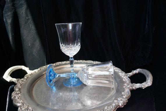 Vintage Crystal Wine Glasses With Blue Stem