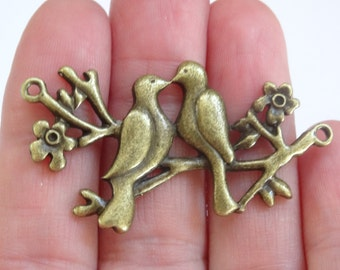 6 Love Birds On Branch Connectors Antique Bronze 4.8cm x 2.5cm - BC012