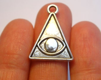 6 Carved Eye Triangle Charms Antique Silver - SC7063